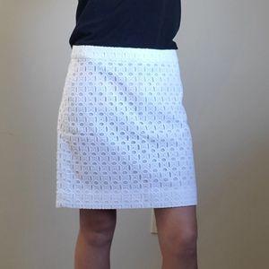 J. Crew Patterned White Skirt